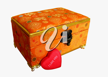 Beautiful gold casket in a gift for a holiday to the Valentine's day