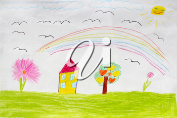 image of children's drawing of houses and tree