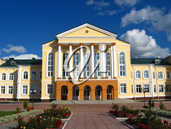 Architectural ensemble of great building with white columns
