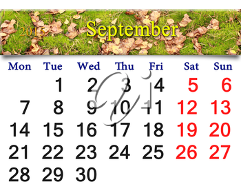 calendar for September of 2015 with the ribbon of moss and leaves