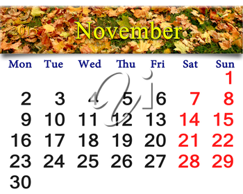 calendar for November of 2015 with the ribbon of moss and leaves