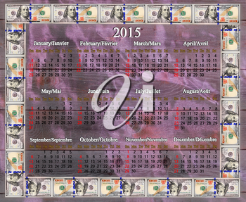 calendar for 2015 year in the dollars' frame on the lilac fabric background