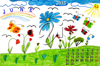 drawing with butterflies and flowers and calendar of June