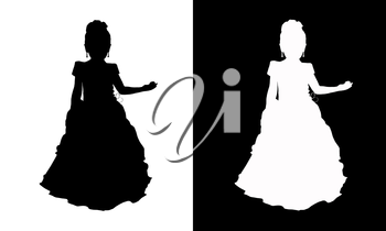 white silhouette of the girl - princess in the black and black silhouette of the girl - princess on the white