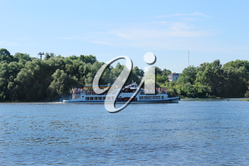 beautiful landscape with promenade motor ship on the river