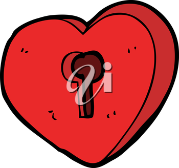 Royalty Free Clipart Image of a Heart with a Keyhole