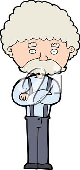 Royalty Free Clipart Image of a Man with a Moustache