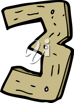 Royalty Free Clipart Image of a Wooden Number Three