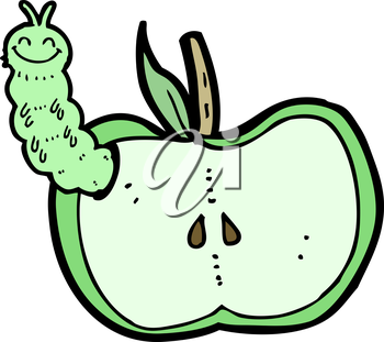 Royalty Free Clipart Image of a Caterpillar in an Apple
