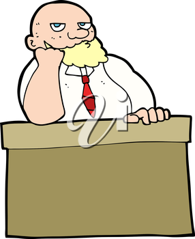 Royalty Free Clipart Image of a Bored Man Sitting at a Desk