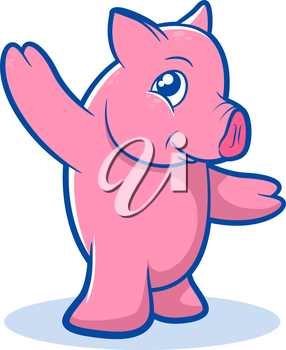 Illustration of a standing pig character