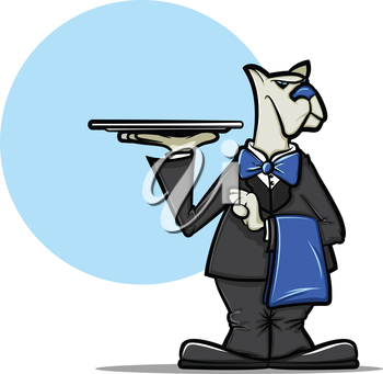 Illustration of a cartoon dog wearing a tuxedo and holding a server tray