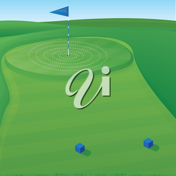 Golf course background illustration with target circles
