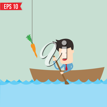 Cartoon business man  rowing a boat try to reach carrot - Vector illustration - EPS10