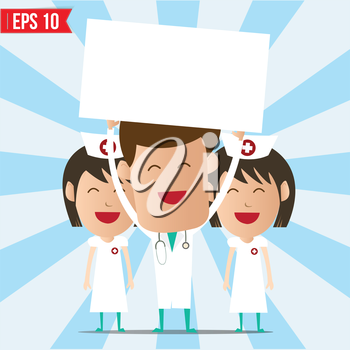 Cartoon doctor and nurse smile and show twhite board - Vector illustration - EPS10