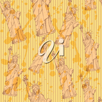 Sketch statue of liberty, vector vintage seamless pattern