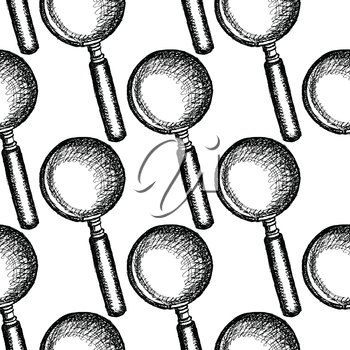Sketch magnify glass in vintage style, seamless pattern
