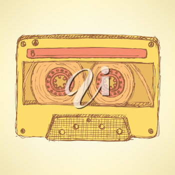 Sketch record cassette in vintage style, vector