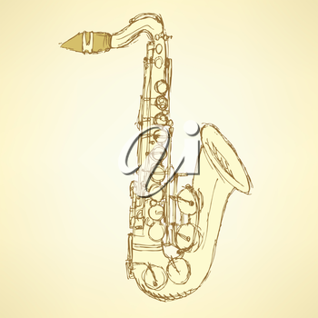 Sketch saxophone musical instrument in vintage style, vector