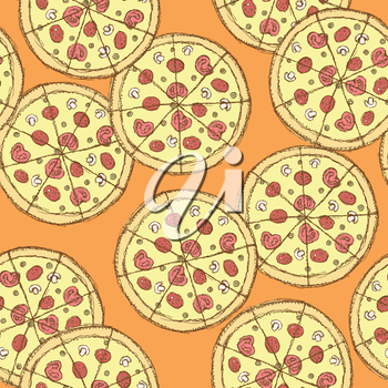 Sketch tasty pizza in vintage style, vector seamless pattern