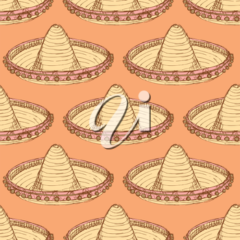 Sketch mexican sombrero in vintage style, vector seamless pattern