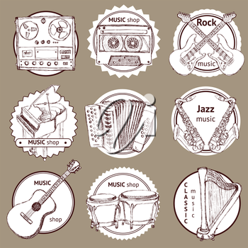 Sketch set of logo with musical instruments and symbols in vintage style, vector