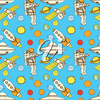 Sketch space in vintage style, vector seamless pattern