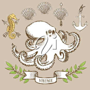 Octopus poster with shell, anchor and seahorse in vintage style, vector