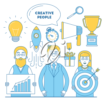 Creative people illustration with idea, promotion, research and trophy