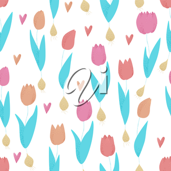 Tulip pink, red and orange spring seamless pattern, colorful concept