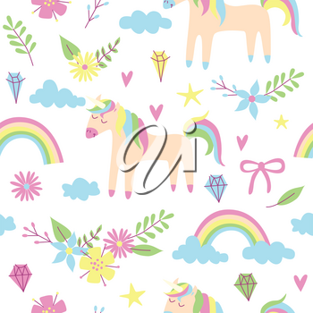 Unicorn seamless pattern, vector design with rainbow and flowers