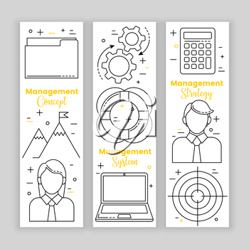 Management set, line art icons, vector business concept