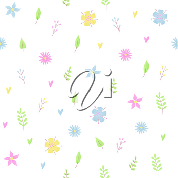 Small flowers pattern with daisy, romantic design