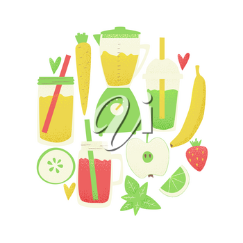 Smoothie design, vector colorful concept, detox ad