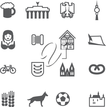 Set of icons with signs of Germany and Berlin. Set include beer, eagle, Brandenburg gate, berlin TV tower, girl, woman, accordion, harmonica, German house, German hat, bicycle, football, castle, Germa