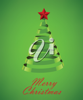 Abstract Green Ribbon Christmas Tree On Green Background. Abstract Green New Year Tree On Green Background