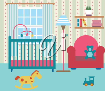 Baby room with furniture. Nursery interior. Flat style vector illustration.