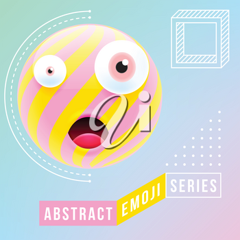 Abstract Cute Surprised Emoji with Different Eyes and Open Mouth. Abstract Emoji Series. Pink Surprised Emoticon Face.