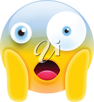 Cute Shocked Emoji with Different Eyes and Open Mouth. Modern Emoji Series. Confused Emoticon Face on White Background