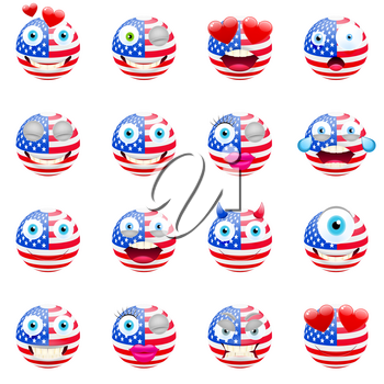 United States Flag Emojis. Patriotic Emoji Set. United States of America Flag Emoticons. Smile icon. Isolated Vector Illustration on White Background