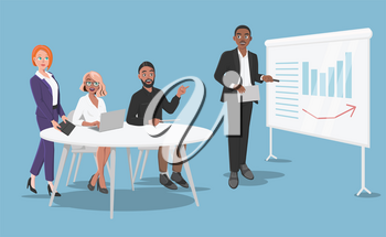 Presentation in the Office in Front of a Small Crew. Senior Manager is Talking About Effective Corporate Business for New Company Workers or Clients. Vector Cartoon Illustration on Blue Background