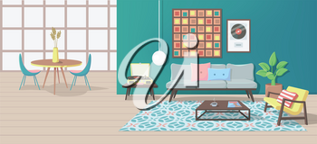 Furniture. Interior. Living Room with a Couch, Table, Lamp, Picture, Pillows, Magazine, Carpet, Vinyl Player, Armchair. Vector illustration