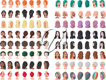 Set of Woman Avatars in Different Positions. Sixteen Characters from Different Subcultures and Social Strata. Beautiful women. Diversity of Cultures. Vector Illustration.