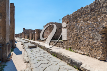 Pompeii city destroyed in 79BC by the eruption of volcano Vesuvius, Italy in a beautiful summer day
