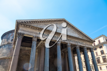 Pantheon in Rome, Italy in a summer day