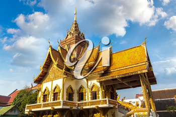 Wat Buppharam - Buddhists temple in Chiang Mai, Thailand in a summer day