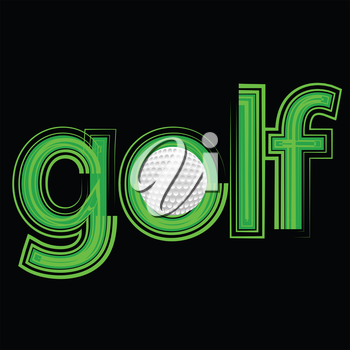 colorful illustration with golf icon on a black background for your design