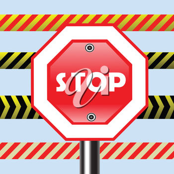 colorful illustration with stop sign for your design