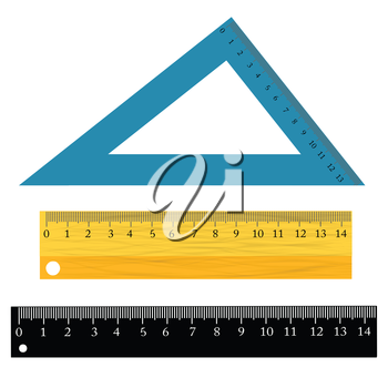 colorful illustration with  set of rulers on a white background for your design