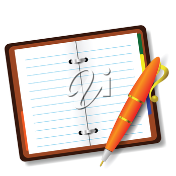 colorful illustration with pen and notebook on a white background